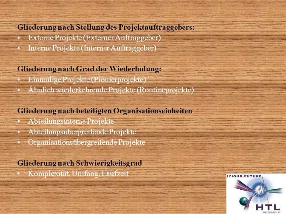 Gliederung nach Stellung des Projektauftraggebers: Externe Projekte (Externer Auftraggeber) Interne Projekte (Interner Auftraggeber) Gliederung nach G