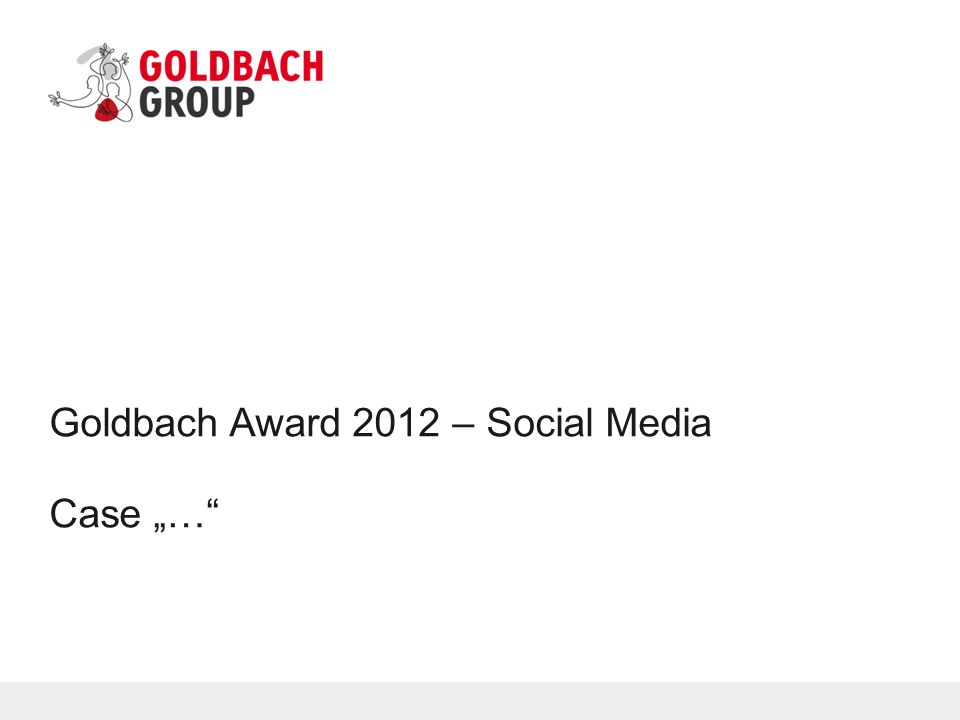 "Goldbach Award 2012 – Social Media Case ""…"