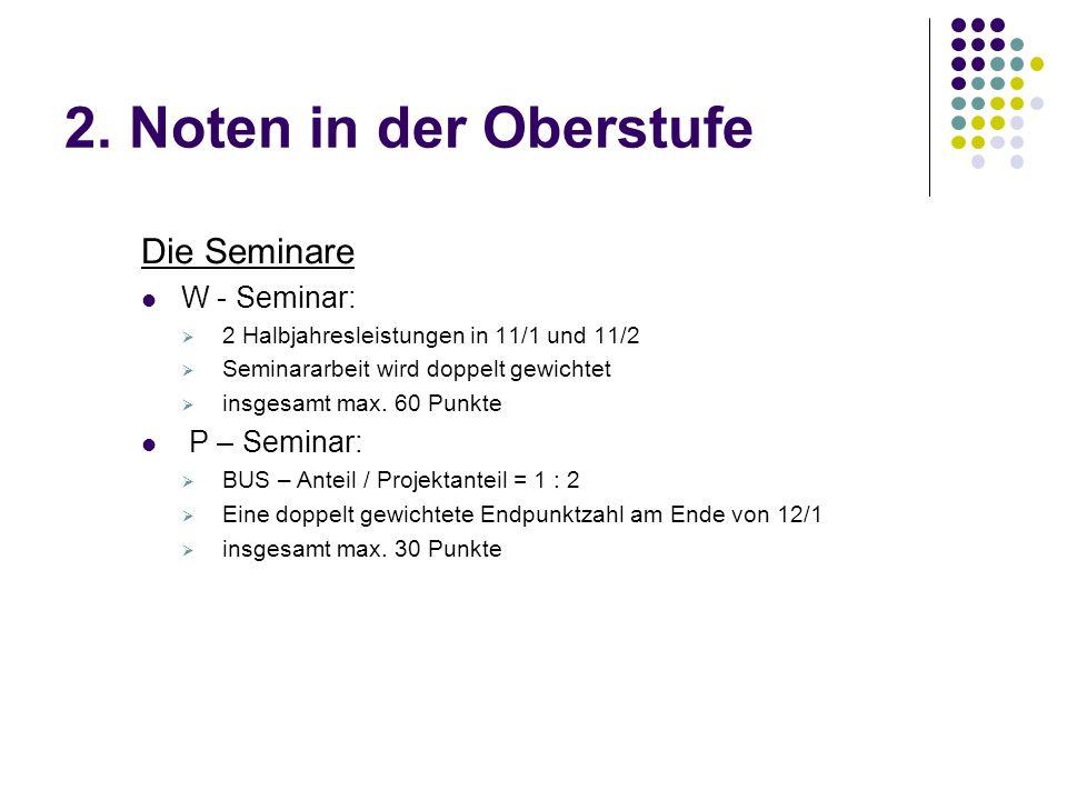 2. Noten in der Oberstufe Die Seminare W - Seminar:  2 Halbjahresleistungen in 11/1 und 11/2  Seminararbeit wird doppelt gewichtet  insgesamt max.