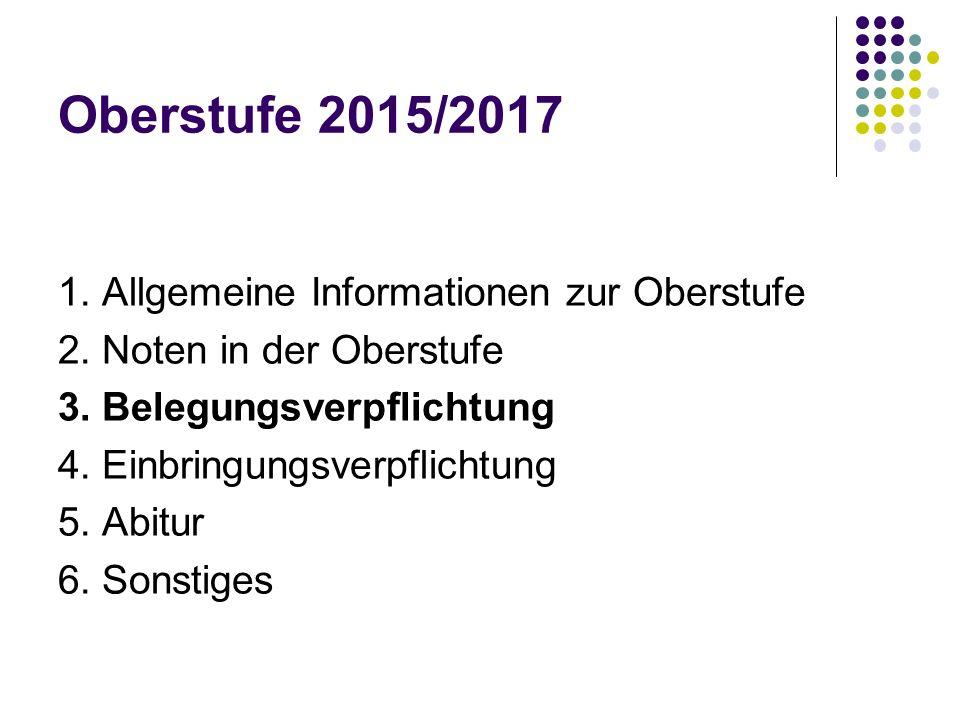 Oberstufe 2015/2017 1. Allgemeine Informationen zur Oberstufe 2. Noten in der Oberstufe 3. Belegungsverpflichtung 4. Einbringungsverpflichtung 5. Abit