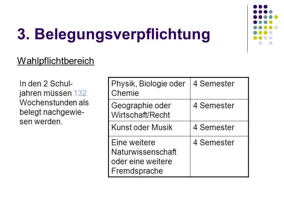 3. Belegungsverpflichtung Wahlpflichtbereich Physik, Biologie oder Chemie 4 Semester Geographie oder Wirtschaft/Recht 4 Semester Kunst oder Musik4 Sem