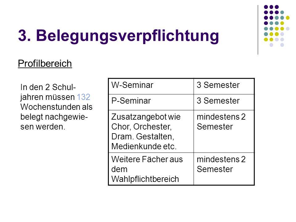 3. Belegungsverpflichtung Profilbereich W-Seminar3 Semester P-Seminar3 Semester Zusatzangebot wie Chor, Orchester, Dram. Gestalten, Medienkunde etc. m