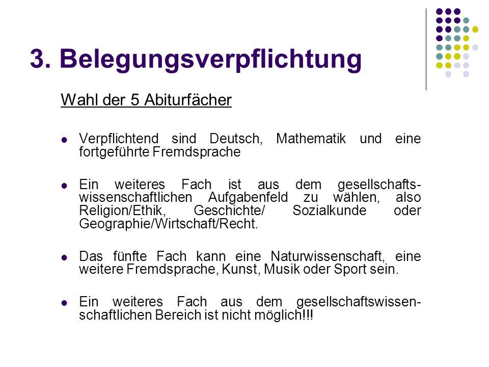 3. Belegungsverpflichtung Wahl der 5 Abiturfächer Verpflichtend sind Deutsch, Mathematik und eine fortgeführte Fremdsprache Ein weiteres Fach ist aus