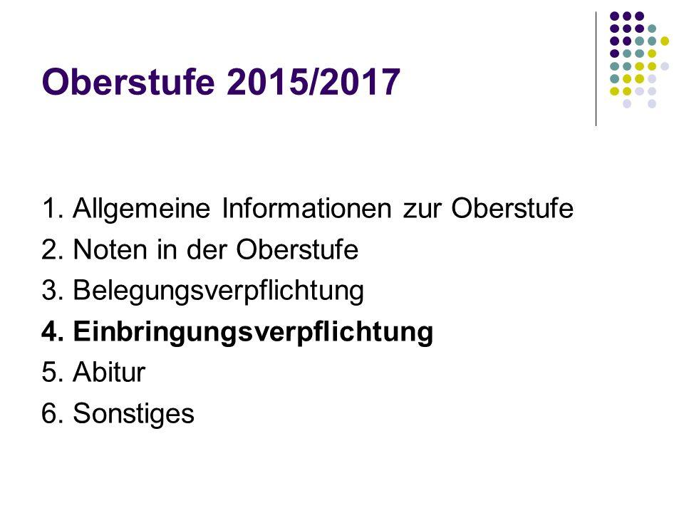 Oberstufe 2015/2017 1.Allgemeine Informationen zur Oberstufe 2.