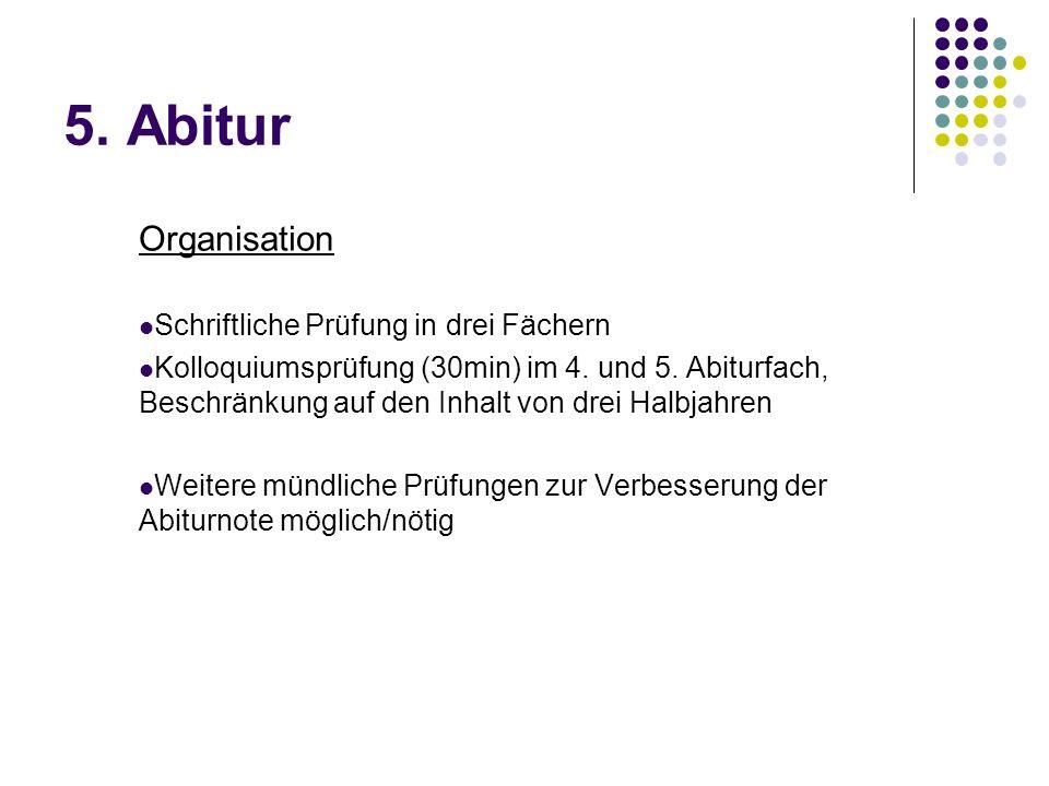 5.Abitur Organisation Schriftliche Prüfung in drei Fächern Kolloquiumsprüfung (30min) im 4.