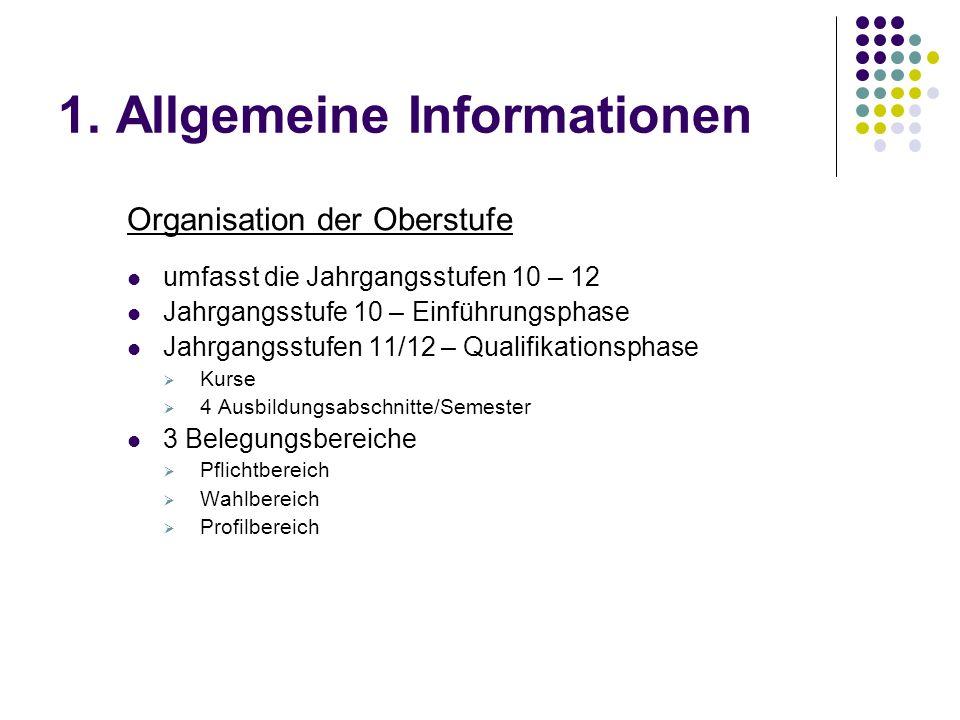 1. Allgemeine Informationen Organisation der Oberstufe umfasst die Jahrgangsstufen 10 – 12 Jahrgangsstufe 10 – Einführungsphase Jahrgangsstufen 11/12