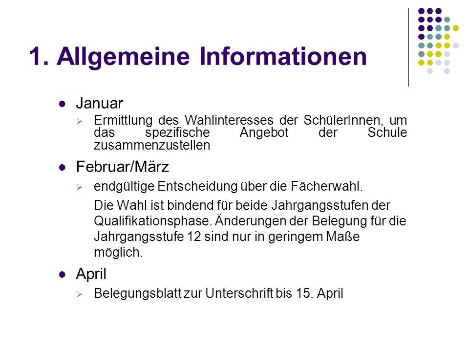 1. Allgemeine Informationen Januar  Ermittlung des Wahlinteresses der SchülerInnen, um das spezifische Angebot der Schule zusammenzustellen Februar/M