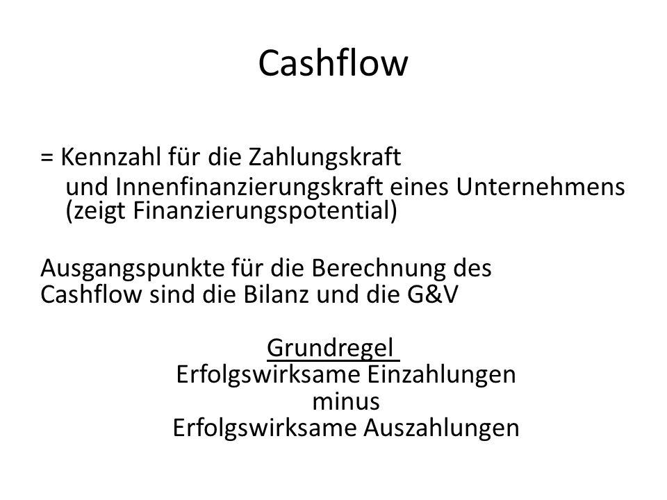 Cashflow = Kennzahl für die Zahlungskraft und Innenfinanzierungskraft eines Unternehmens (zeigt Finanzierungspotential) Ausgangspunkte für die Berechn
