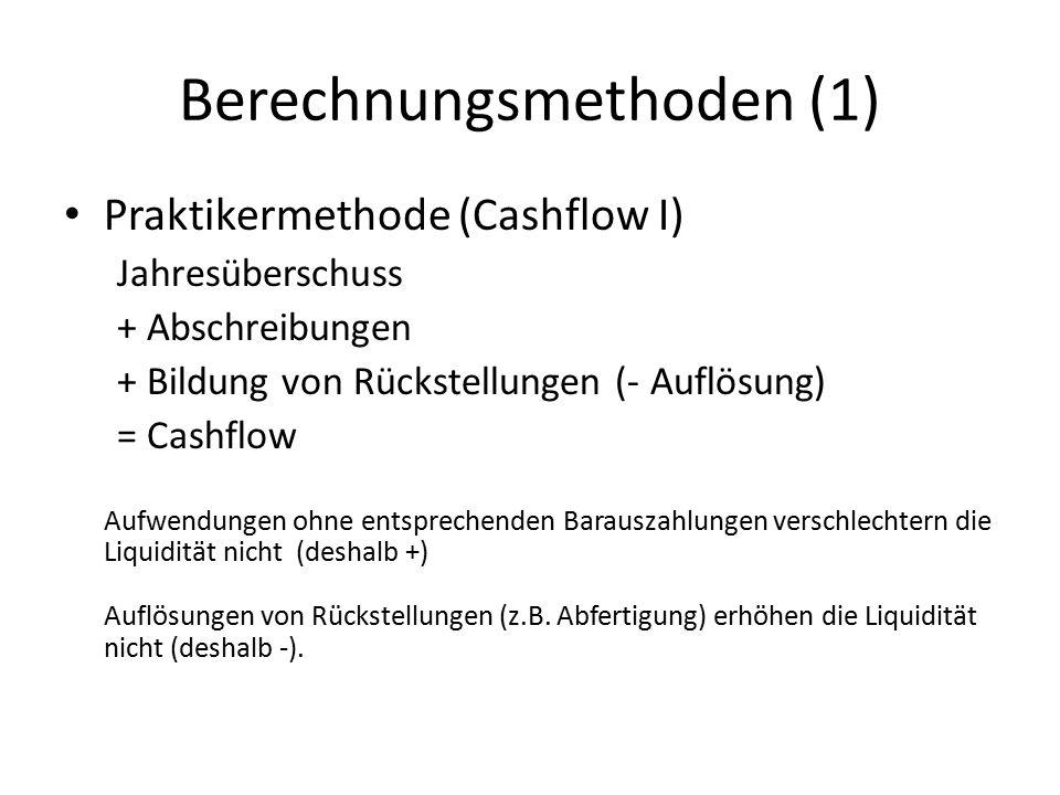 Berechnungsmethoden (1) Praktikermethode (Cashflow I) Jahresüberschuss + Abschreibungen + Bildung von Rückstellungen (- Auflösung) = Cashflow Aufwendu
