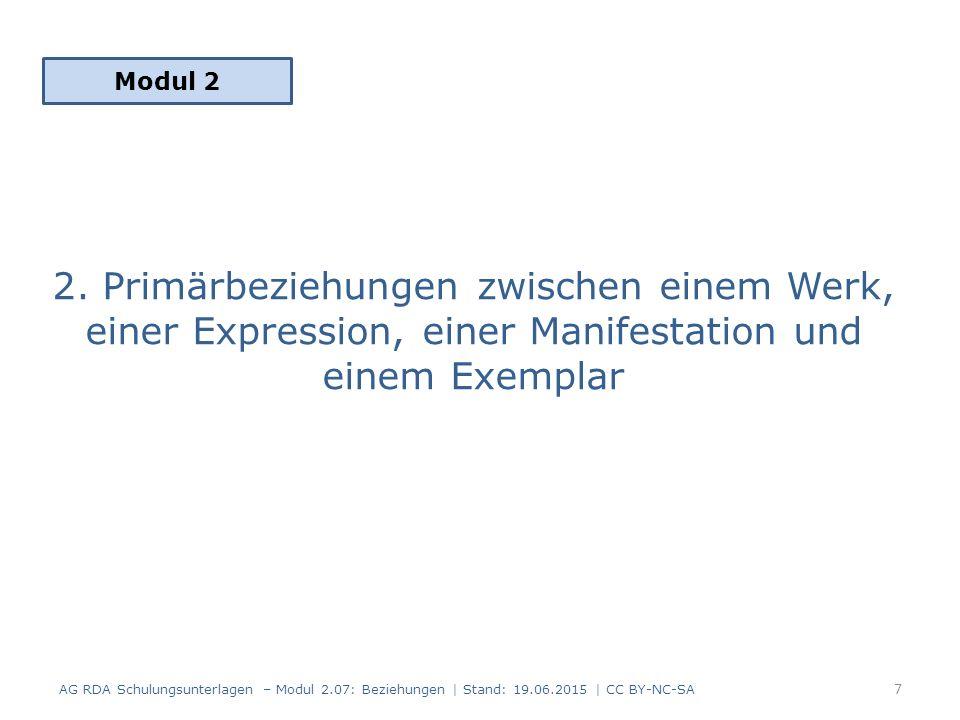 Geltungsbereich RDA 17.0 FRBR-Gruppe 1 AG RDA Schulungsunterlagen – Modul 2.07: Beziehungen | Stand: 19.06.2015 | CC BY-NC-SA 8 Werk Expression Manifestation Exemplar