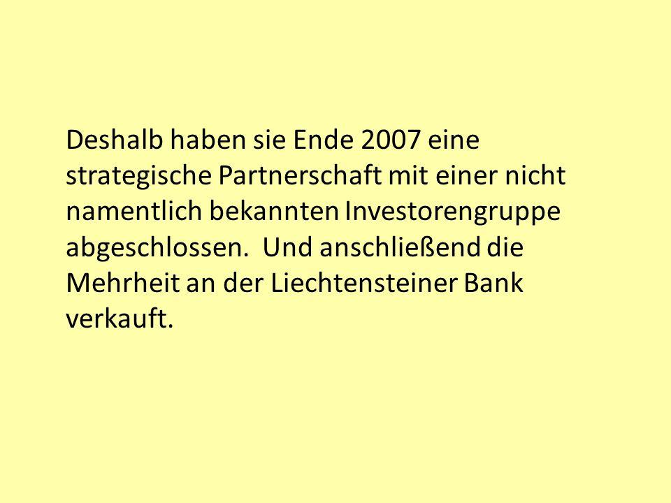 Deshalb haben sie Ende 2007 eine strategische Partnerschaft mit einer nicht namentlich bekannten Investorengruppe abgeschlossen.