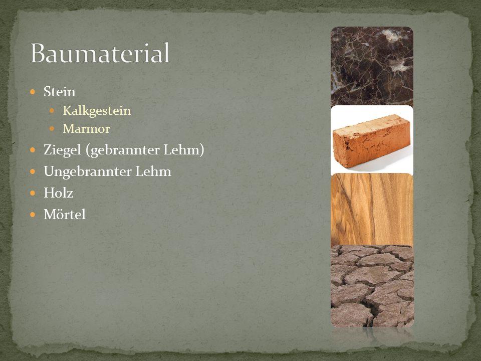 Stein Kalkgestein Marmor Ziegel (gebrannter Lehm) Ungebrannter Lehm Holz Mörtel