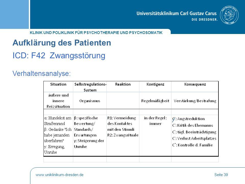 KLINIK UND POLIKLINIK FÜR PSYCHOTHERAPIE UND PSYCHOSOMATIK www.uniklinikum-dresden.deSeite 39 Verhaltensanalyse: Aufklärung des Patienten ICD: F42 Zwa
