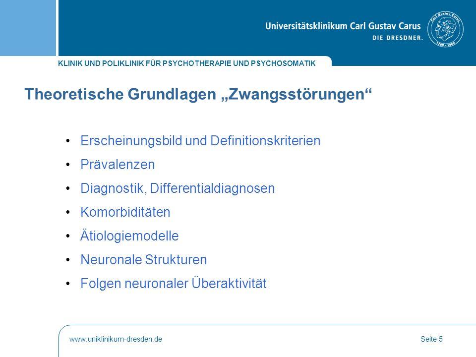KLINIK UND POLIKLINIK FÜR PSYCHOTHERAPIE UND PSYCHOSOMATIK www.uniklinikum-dresden.deSeite 16