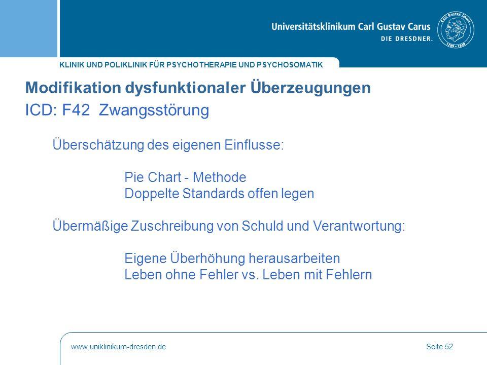 KLINIK UND POLIKLINIK FÜR PSYCHOTHERAPIE UND PSYCHOSOMATIK www.uniklinikum-dresden.deSeite 52 Modifikation dysfunktionaler Überzeugungen ICD: F42 Zwan