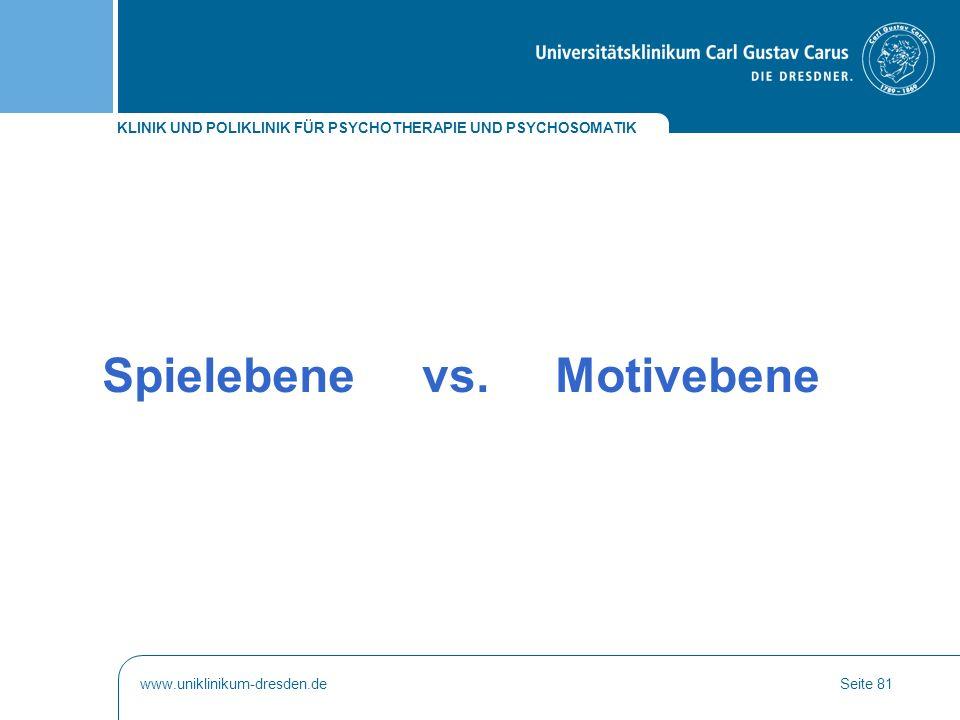 KLINIK UND POLIKLINIK FÜR PSYCHOTHERAPIE UND PSYCHOSOMATIK www.uniklinikum-dresden.deSeite 81 Spielebene vs. Motivebene
