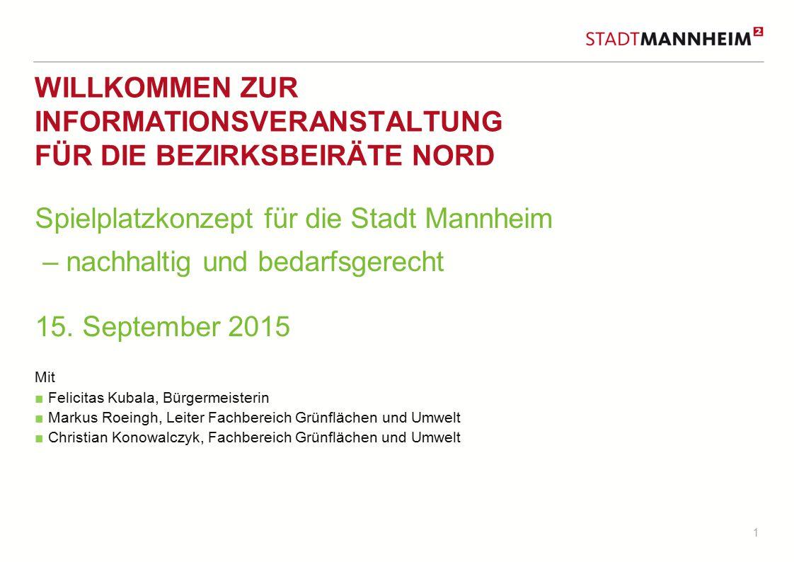 1 WILLKOMMEN ZUR INFORMATIONSVERANSTALTUNG FÜR DIE BEZIRKSBEIRÄTE NORD Spielplatzkonzept für die Stadt Mannheim – nachhaltig und bedarfsgerecht 15.