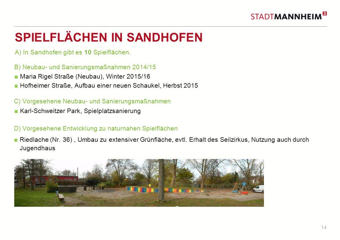 14 SPIELFLÄCHEN IN SANDHOFEN B) Neubau- und Sanierungsmaßnahmen 2014/15 ■ Maria Rigel Straße (Neubau), Winter 2015/16 ■ Hofheimer Straße, Aufbau einer