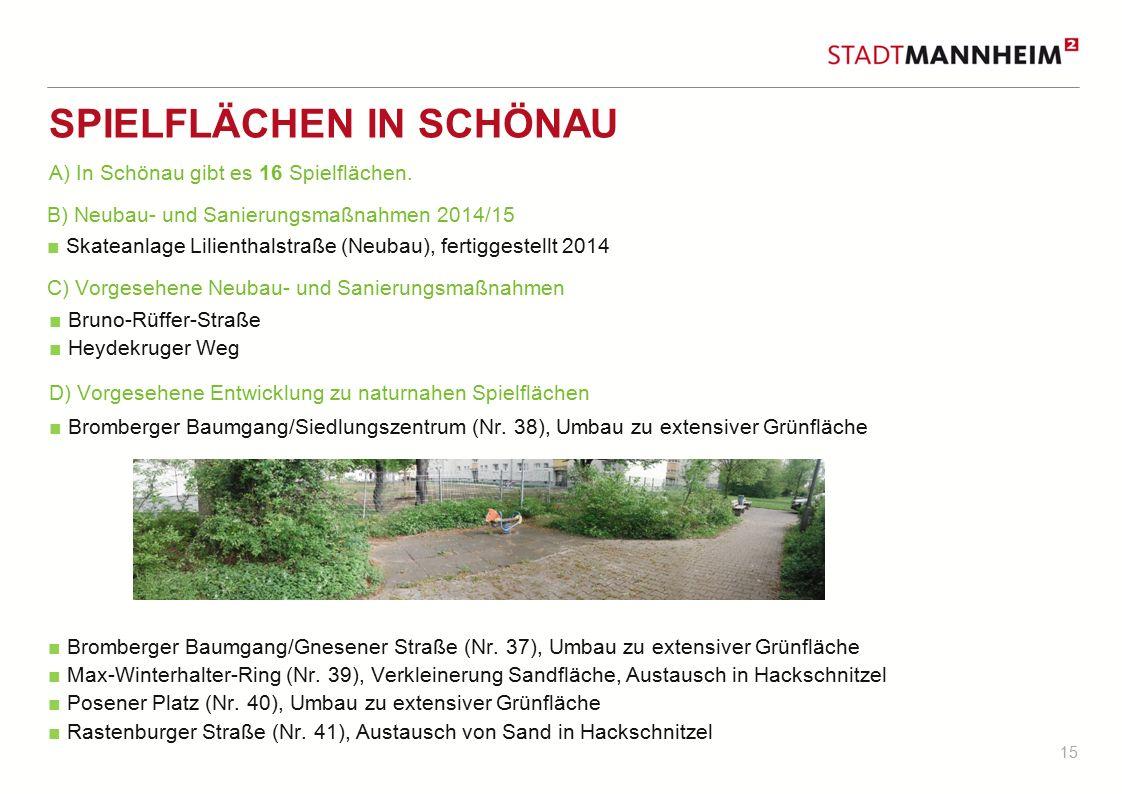 15 SPIELFLÄCHEN IN SCHÖNAU B) Neubau- und Sanierungsmaßnahmen 2014/15 ■ Skateanlage Lilienthalstraße (Neubau), fertiggestellt 2014 ■ Bruno-Rüffer-Stra