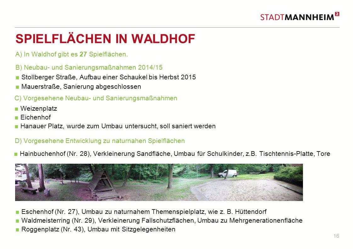16 SPIELFLÄCHEN IN WALDHOF B) Neubau- und Sanierungsmaßnahmen 2014/15 ■ Stollberger Straße, Aufbau einer Schaukel bis Herbst 2015 ■ Mauerstraße, Sanie