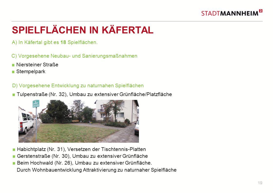 19 SPIELFLÄCHEN IN KÄFERTAL ■ Niersteiner Straße ■ Stempelpark ■ Tulpenstraße (Nr. 32), Umbau zu extensiver Grünfläche/Platzfläche C) Vorgesehene Neub