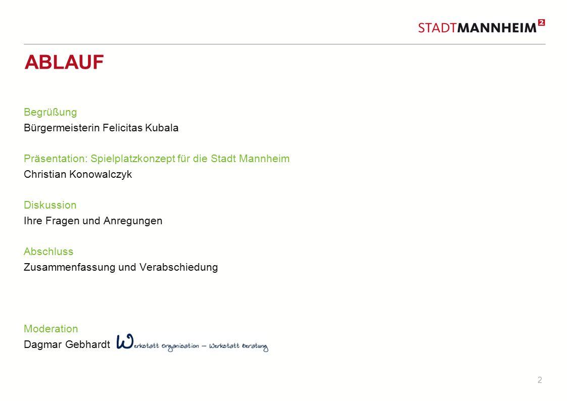 2 ABLAUF Begrüßung Bürgermeisterin Felicitas Kubala Präsentation: Spielplatzkonzept für die Stadt Mannheim Christian Konowalczyk Diskussion Ihre Frage