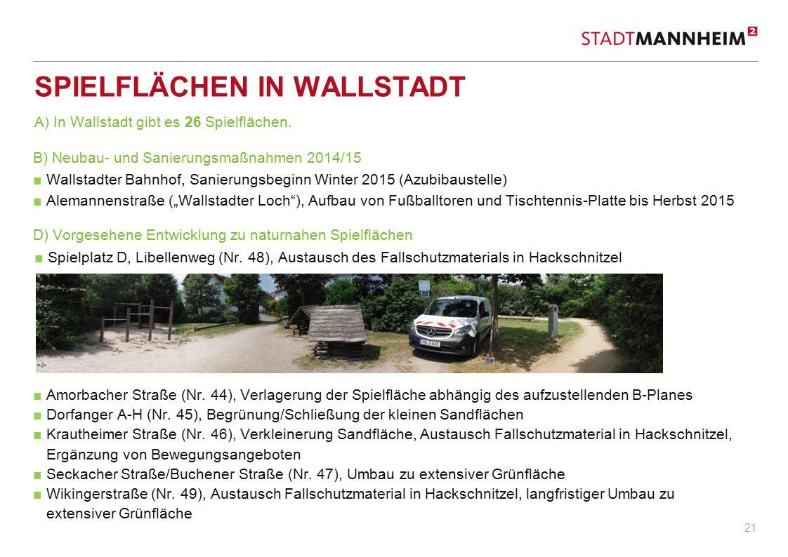 21 SPIELFLÄCHEN IN WALLSTADT B) Neubau- und Sanierungsmaßnahmen 2014/15 ■ Wallstadter Bahnhof, Sanierungsbeginn Winter 2015 (Azubibaustelle) ■ Alemann