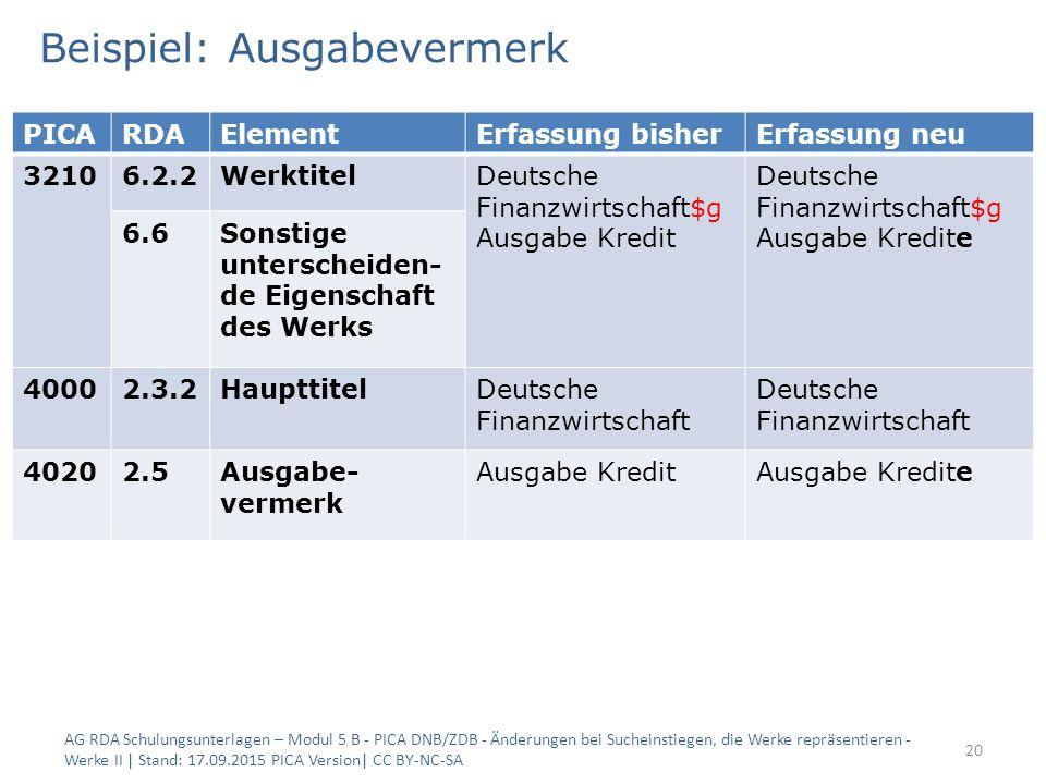 Beispiel: Ausgabevermerk AG RDA Schulungsunterlagen – Modul 5 B - PICA DNB/ZDB - Änderungen bei Sucheinstiegen, die Werke repräsentieren - Werke II |