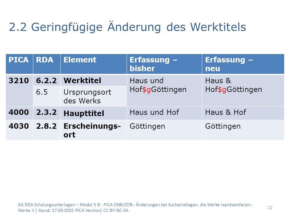 2.2 Geringfügige Änderung des Werktitels AG RDA Schulungsunterlagen – Modul 5 B - PICA DNB/ZDB - Änderungen bei Sucheinstiegen, die Werke repräsentier