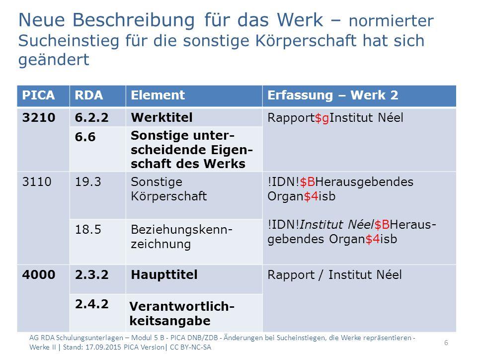 Neue Beschreibung für das Werk – normierter Sucheinstieg für die sonstige Körperschaft hat sich geändert AG RDA Schulungsunterlagen – Modul 5 B - PICA DNB/ZDB - Änderungen bei Sucheinstiegen, die Werke repräsentieren - Werke II | Stand: 17.09.2015 PICA Version| CC BY-NC-SA 6 PICARDAElementErfassung – Werk 2 32106.2.2WerktitelRapport$gInstitut Néel 6.6 Sonstige unter- scheidende Eigen- schaft des Werks 311019.3Sonstige Körperschaft !IDN!$BHerausgebendes Organ$4isb !IDN!Institut Néel$BHeraus- gebendes Organ$4isb 18.5Beziehungskenn- zeichnung 40002.3.2HaupttitelRapport / Institut Néel 2.4.2 Verantwortlich- keitsangabe
