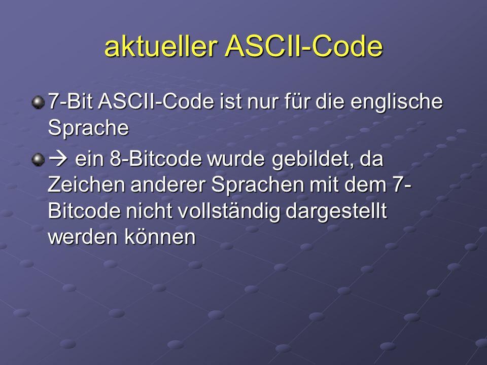 aktueller ASCII-Code 7-Bit ASCII-Code ist nur für die englische Sprache  ein 8-Bitcode wurde gebildet, da Zeichen anderer Sprachen mit dem 7- Bitcode