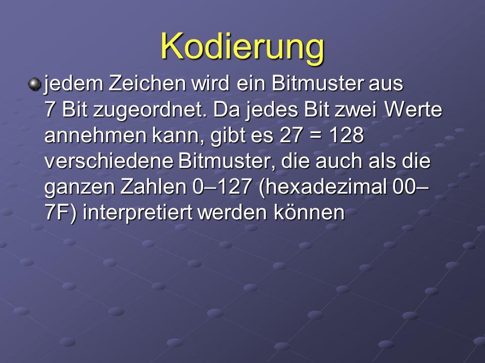 Kodierung jedem Zeichen wird ein Bitmuster aus 7 Bit zugeordnet. Da jedes Bit zwei Werte annehmen kann, gibt es 27 = 128 verschiedene Bitmuster, die a