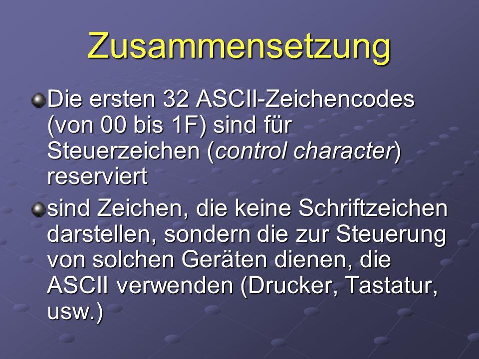Zusammensetzung Die ersten 32 ASCII-Zeichencodes (von 00 bis 1F) sind für Steuerzeichen (control character) reserviert sind Zeichen, die keine Schrift