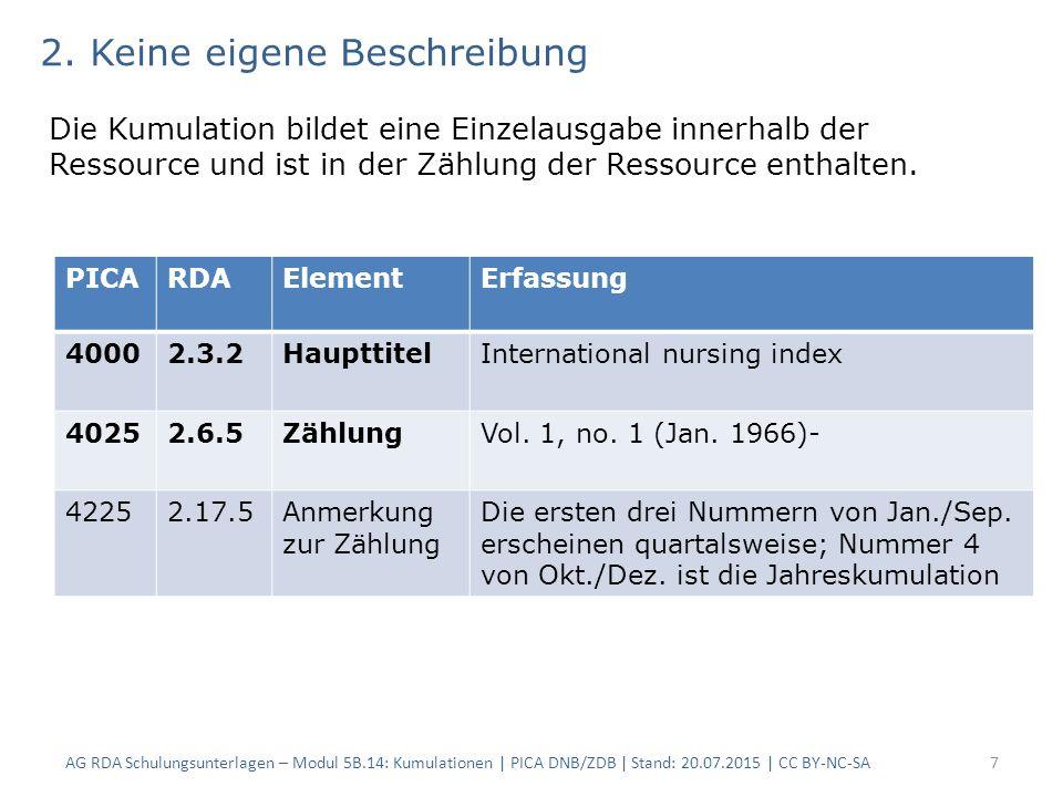 AG RDA Schulungsunterlagen – Modul 5B.14: Kumulationen | PICA DNB/ZDB | Stand: 20.07.2015 | CC BY-NC-SA7 PICARDAElementErfassung 40002.3.2HaupttitelInternational nursing index 40252.6.5ZählungVol.