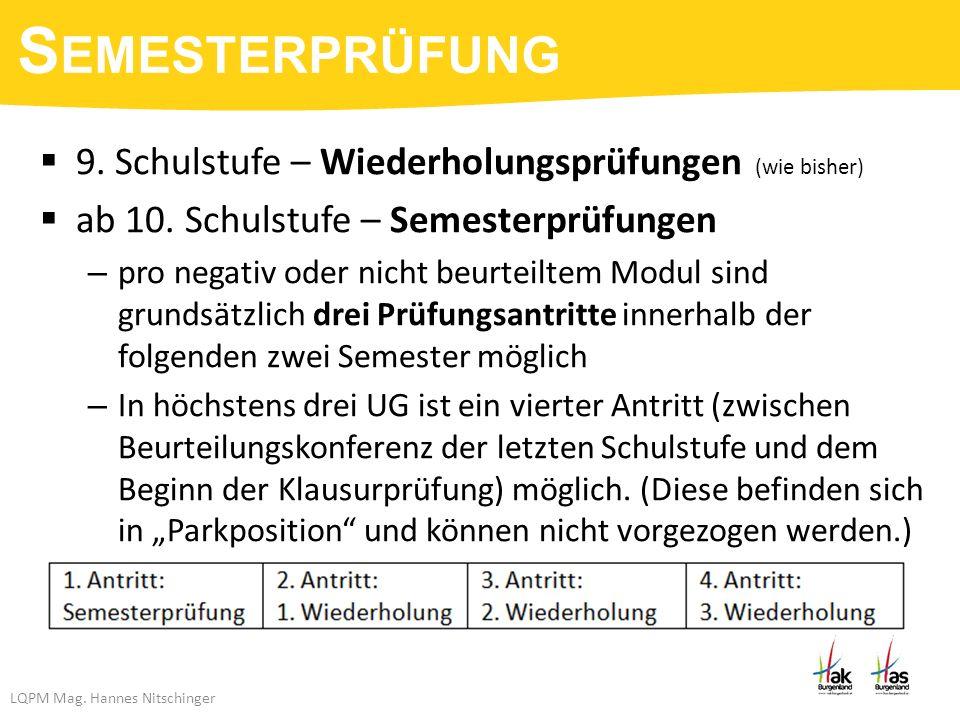 LQPM Mag. Hannes Nitschinger  9. Schulstufe – Wiederholungsprüfungen (wie bisher)  ab 10.