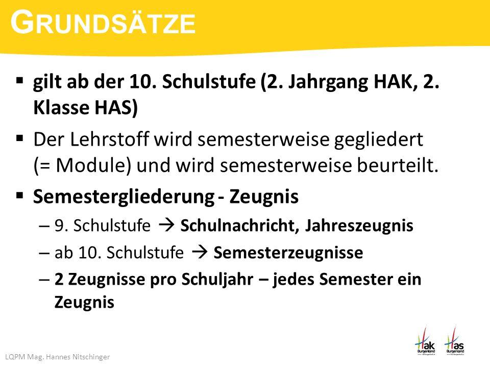 LQPM Mag. Hannes Nitschinger  gilt ab der 10. Schulstufe (2.