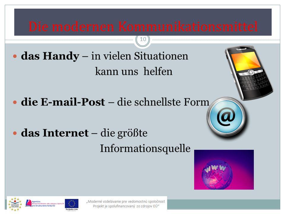 Veränderung der Formen der Kommunikation 11 Sprich auf Grund der Bilder über die Veränderung der Kommunikationsformen