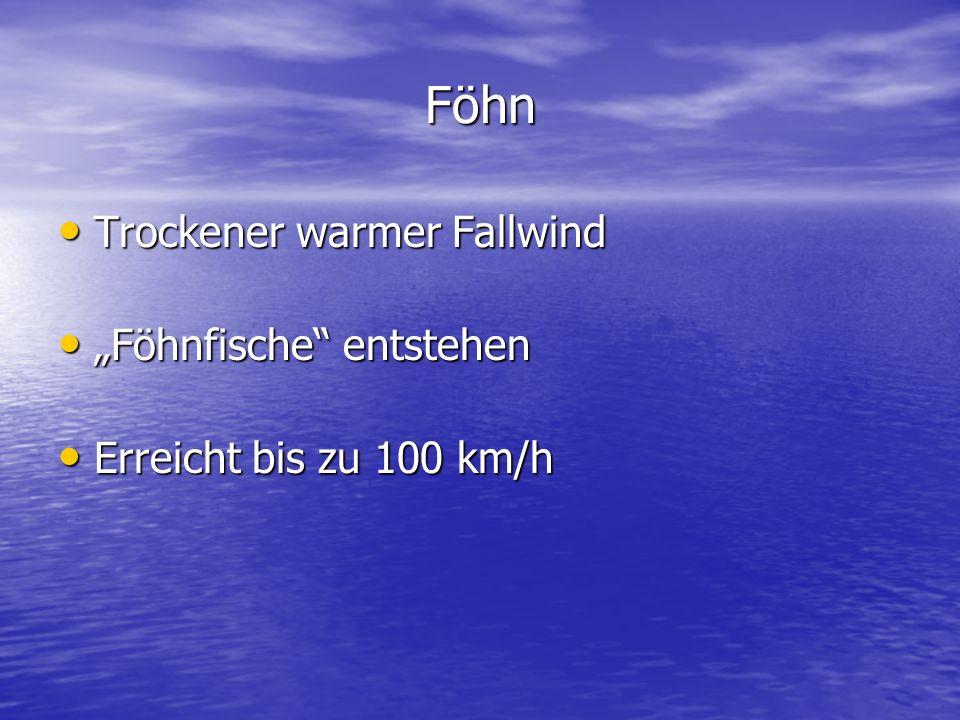 """Föhn Trockener warmer Fallwind Trockener warmer Fallwind """"Föhnfische"""" entstehen """"Föhnfische"""" entstehen Erreicht bis zu 100 km/h Erreicht bis zu 100 km"""