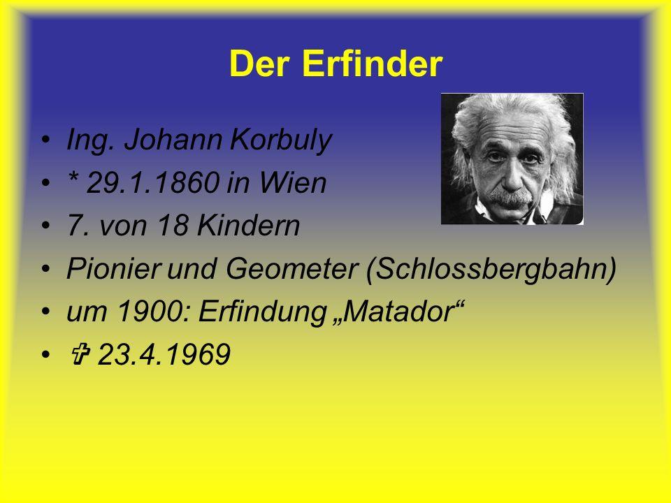 Der Erfinder Ing.Johann Korbuly * 29.1.1860 in Wien 7.