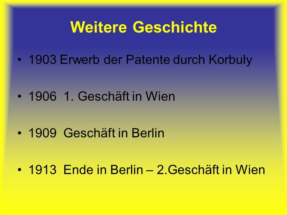 Weitere Geschichte 1903 Erwerb der Patente durch Korbuly 1906 1.