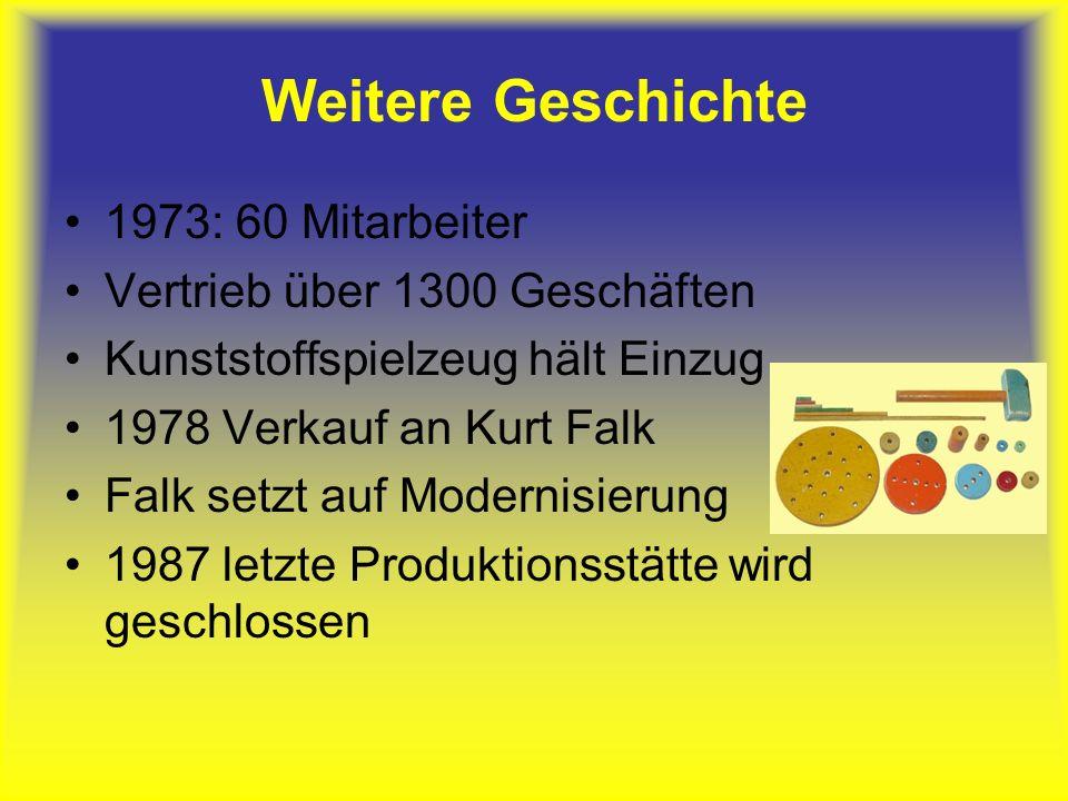 Weitere Geschichte 1973: 60 Mitarbeiter Vertrieb über 1300 Geschäften Kunststoffspielzeug hält Einzug 1978 Verkauf an Kurt Falk Falk setzt auf Modernisierung 1987 letzte Produktionsstätte wird geschlossen