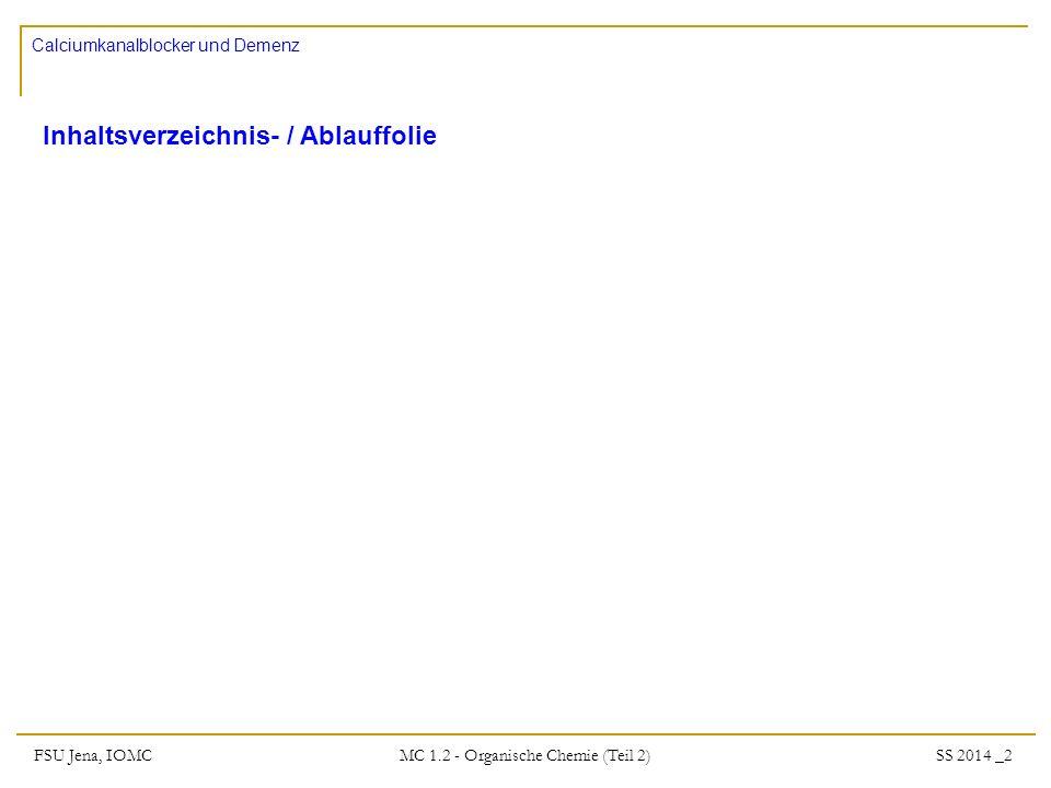 FSU Jena, IOMC SS 2014 _2 MC 1.2 - Organische Chemie (Teil 2) Calciumkanalblocker und Demenz Inhaltsverzeichnis- / Ablauffolie