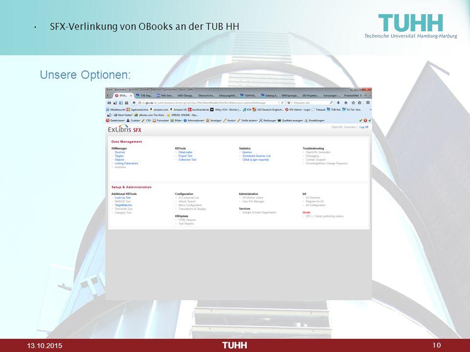 10 13.10.2015 SFX-Verlinkung von OBooks an der TUB HH Unsere Optionen: