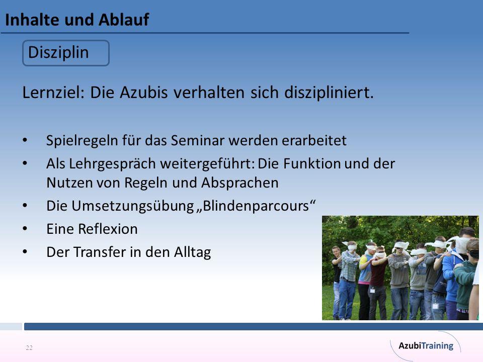 22 Inhalte und Ablauf Lernziel: Die Azubis verhalten sich diszipliniert. Spielregeln für das Seminar werden erarbeitet Als Lehrgespräch weitergeführt: