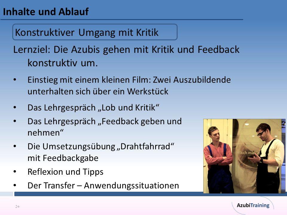 24 Inhalte und Ablauf Lernziel: Die Azubis gehen mit Kritik und Feedback konstruktiv um. Einstieg mit einem kleinen Film: Zwei Auszubildende unterhalt