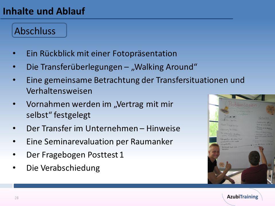 """28 Inhalte und Ablauf Ein Rückblick mit einer Fotopräsentation Die Transferüberlegungen – """"Walking Around"""" Eine gemeinsame Betrachtung der Transfersit"""