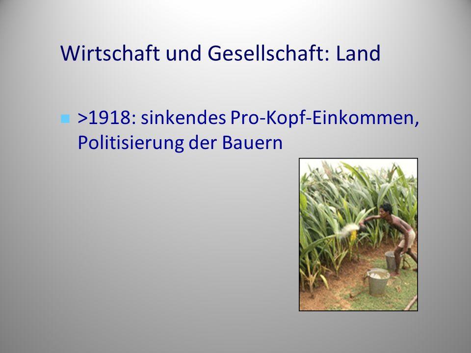 Wirtschaft und Gesellschaft: Land >1918: sinkendes Pro-Kopf-Einkommen, Politisierung der Bauern