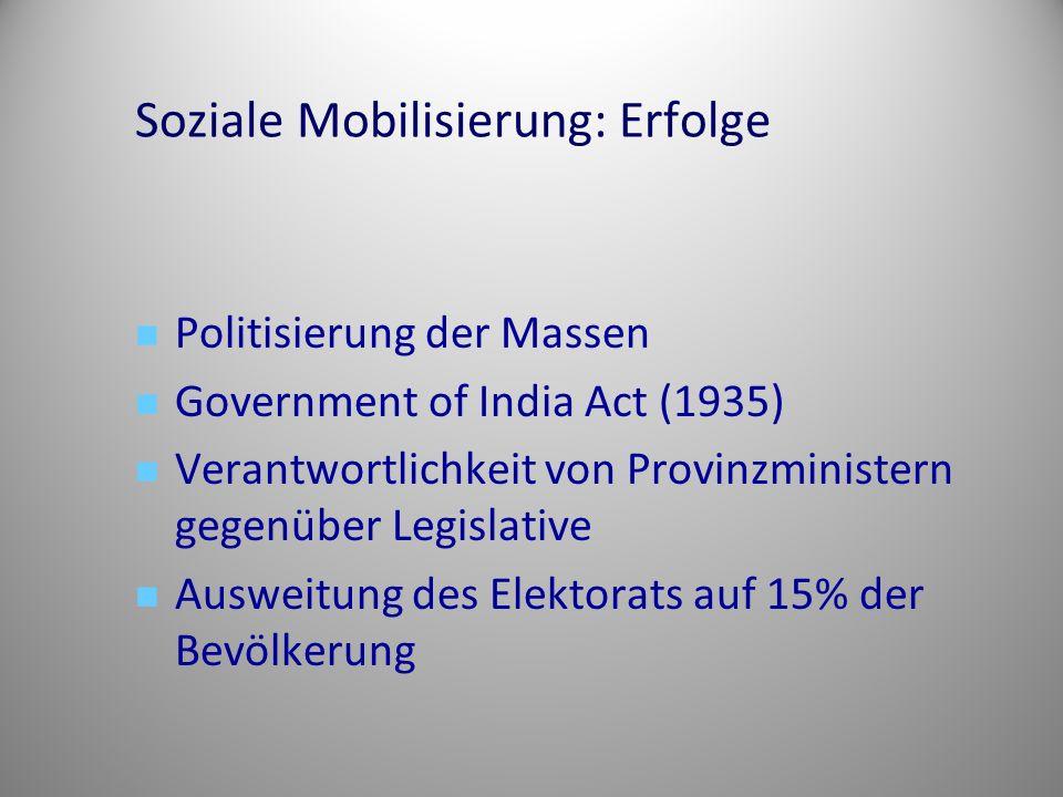 Soziale Mobilisierung: Erfolge Politisierung der Massen Government of India Act (1935) Verantwortlichkeit von Provinzministern gegenüber Legislative Ausweitung des Elektorats auf 15% der Bevölkerung