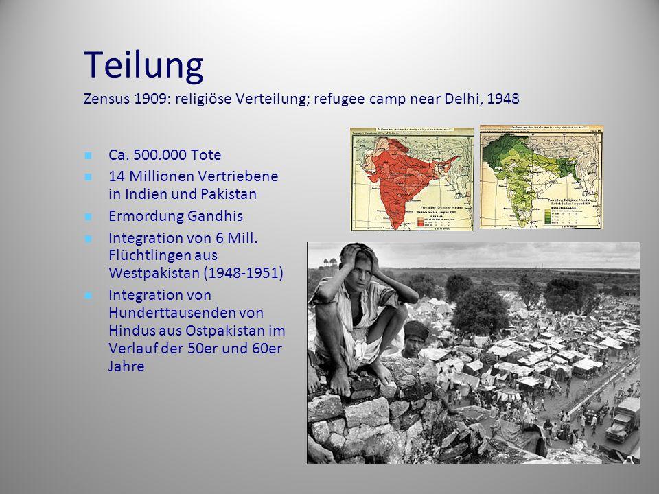 Teilung Zensus 1909: religiöse Verteilung; refugee camp near Delhi, 1948 Ca. 500.000 Tote 14 Millionen Vertriebene in Indien und Pakistan Ermordung Ga
