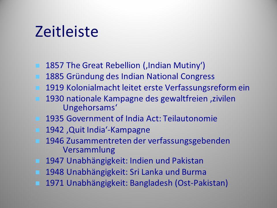 Zeitleiste 1857 The Great Rebellion ('Indian Mutiny') 1885 Gründung des Indian National Congress 1919 Kolonialmacht leitet erste Verfassungsreform ein